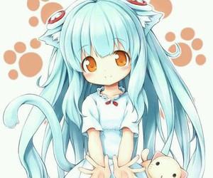 anime girl, sweet girl, and blue hear image
