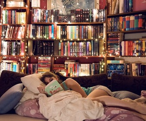 bed, books, and girl image