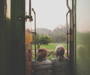 friends, girl, and train image