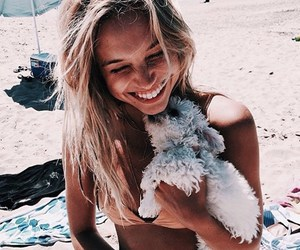 beach, girl, and puppy image
