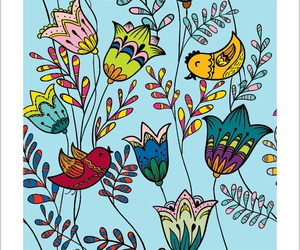 flowers, art, and birds image