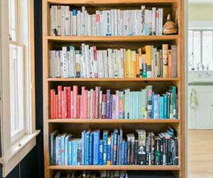 arranged, books, and library image