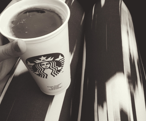 black and white, fall, and starbucks image