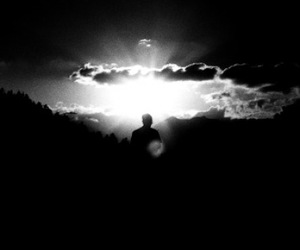black and white, clouds, and sunrise image