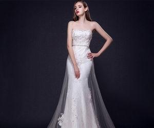 wedding dress, bridal dress, and off shoulder image
