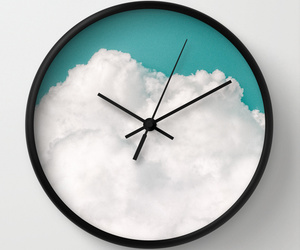 blue, clock, and clouds image
