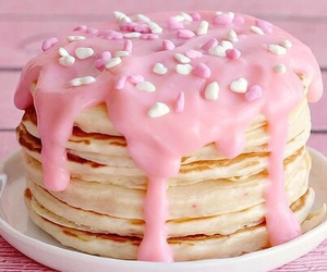 pink, pancakes, and food image