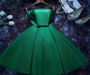 green, dress, and shoes image