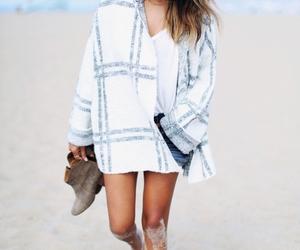 beach, brunette, and sunglasses image
