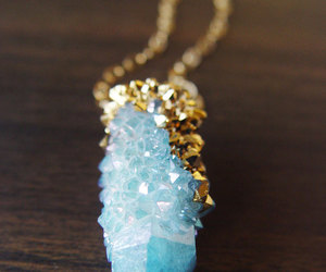 blue, necklace, and gold image