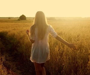 girl, field, and hair image