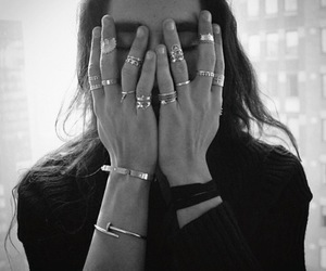 rings, black and white, and ring image