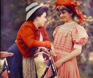 1910s, hats, and bicycle image
