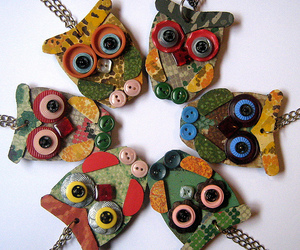 buttons, necklace, and owls image