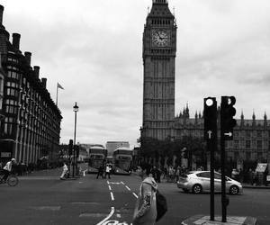 Big Ben, black and white, and boy image