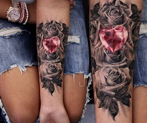 tattoo, rose, and heart image