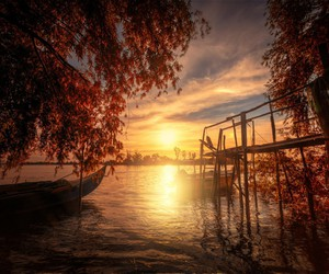 autumn, boat, and fall image