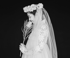 black and white, bride, and closed eyes image