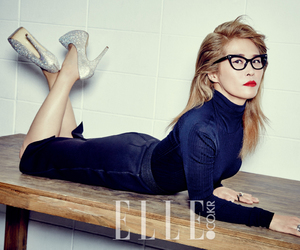Elle, silver shoes, and table image