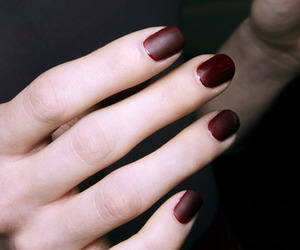 nails, burgundy, and matte image