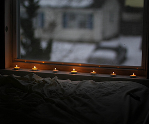 candle, window, and winter image