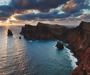 mountain, nature, and ocean image