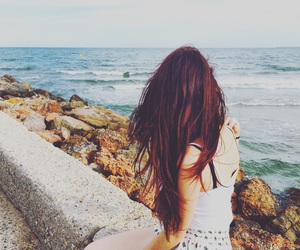 beach, ginger, and girl image