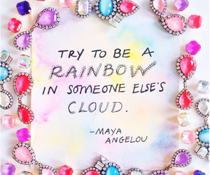quote, rainbow, and clouds image