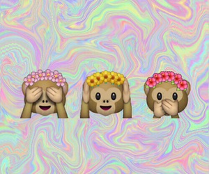 wallpaper, emoji, and monkey image