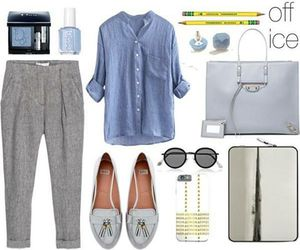 office, outfit, and Polyvore image