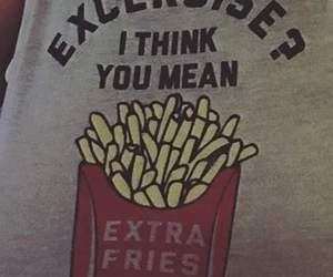 exercise, fries, and funny image