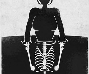 card, skeleton, and black and white image