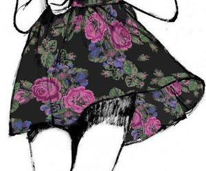 draw, flowers, and dress image