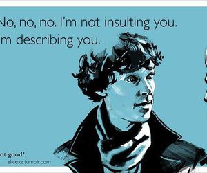 funny, sherlock, and insult image