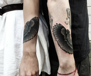 tattos, wing, and matching tattoos image