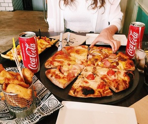 pizza, food, and coca cola image