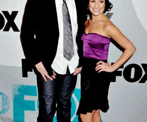 lea michele, cory monteith, and glee cast image
