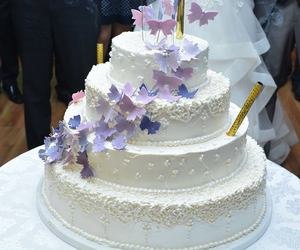 brodery, butterflies, and cake image