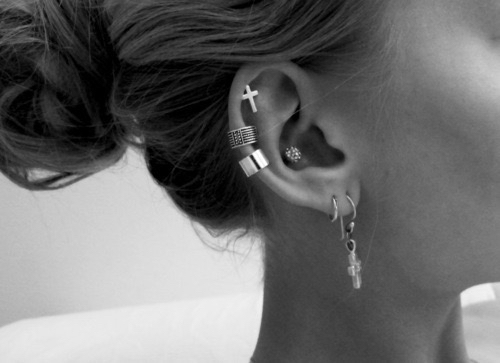 black and white, earrings, and Piercings image