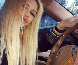 blonde, car, and girl image