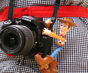 camera, canon, and toy story image