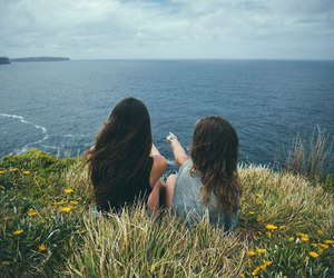 girls, blue, and ocean image