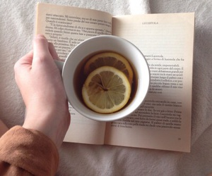 book, lemon, and tea image