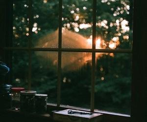 window, light, and sunset image