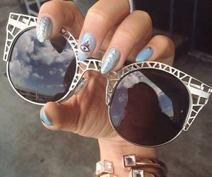 sunglasses, nails, and glasses image