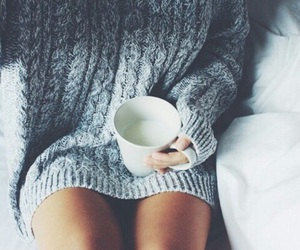 sweater, winter, and coffee image