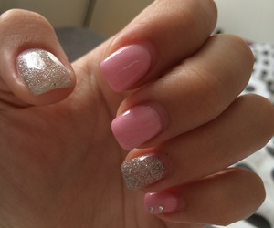 glitter, pink, and nails image