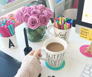 coffee, flowers, and desk image