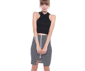 black and white stripes, ootd, and fashion image