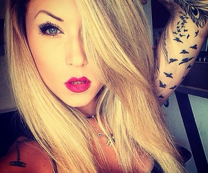 blonde, make up, and tattoo image